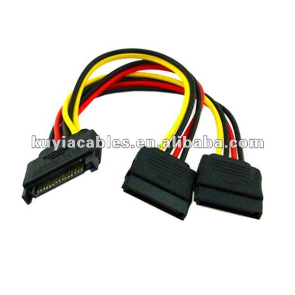 SATA 15Pin hard disk Power Male to 2 Female Splitter Y 1 to 2 extension Cable