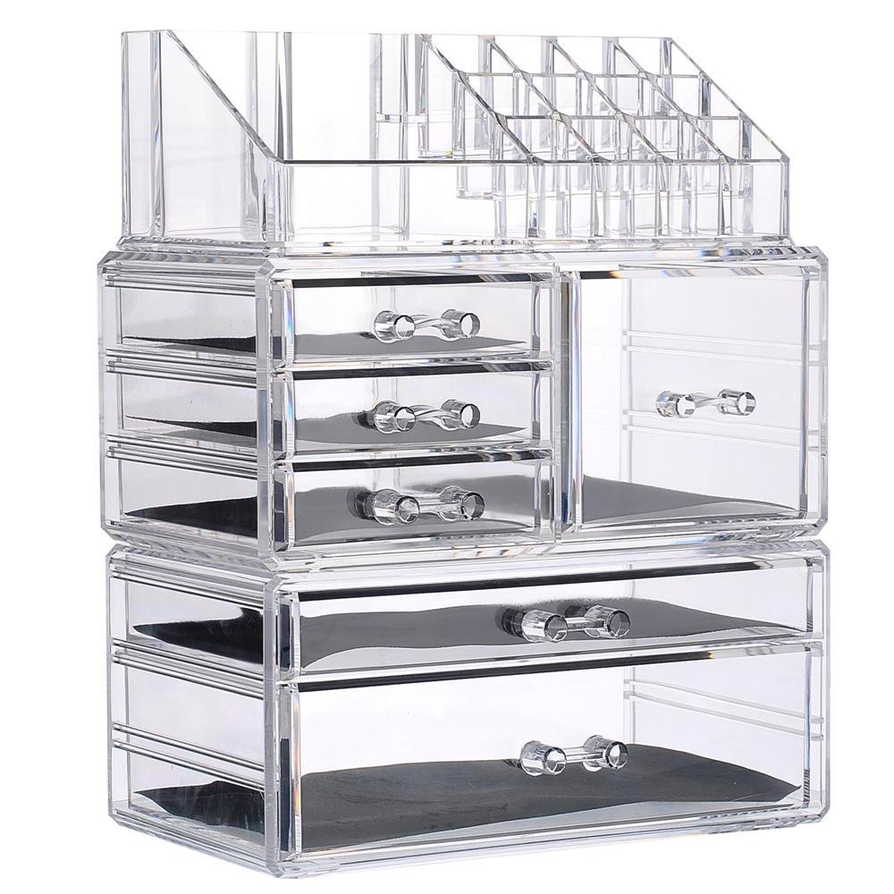 Younghoo Makeup Organizer Acrylic Cosmetic Organizer Jewelry Storage  Organizer Counter Storage Case Large Display Drawer 3