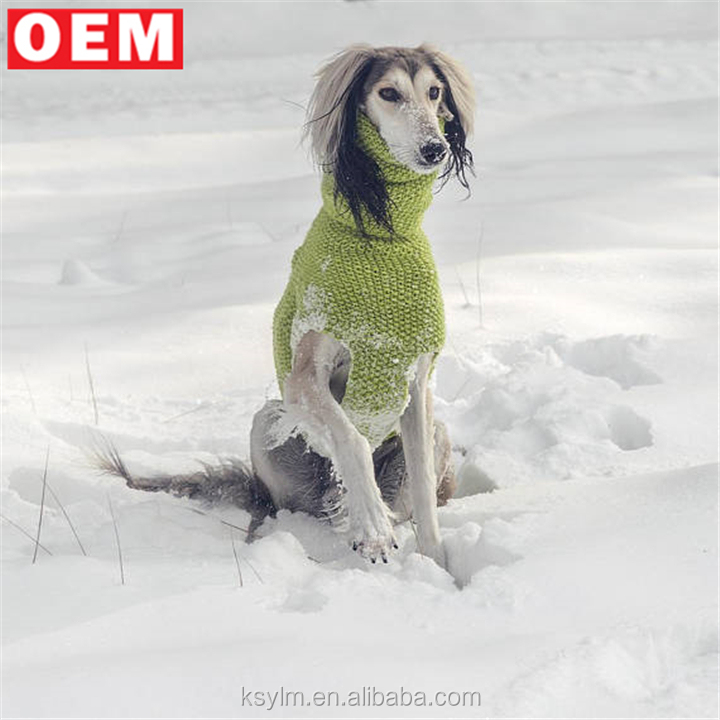 YLM Custom design Hand knit crochet italian greyhound coat sweater winter dog Turtleneck cable sweater