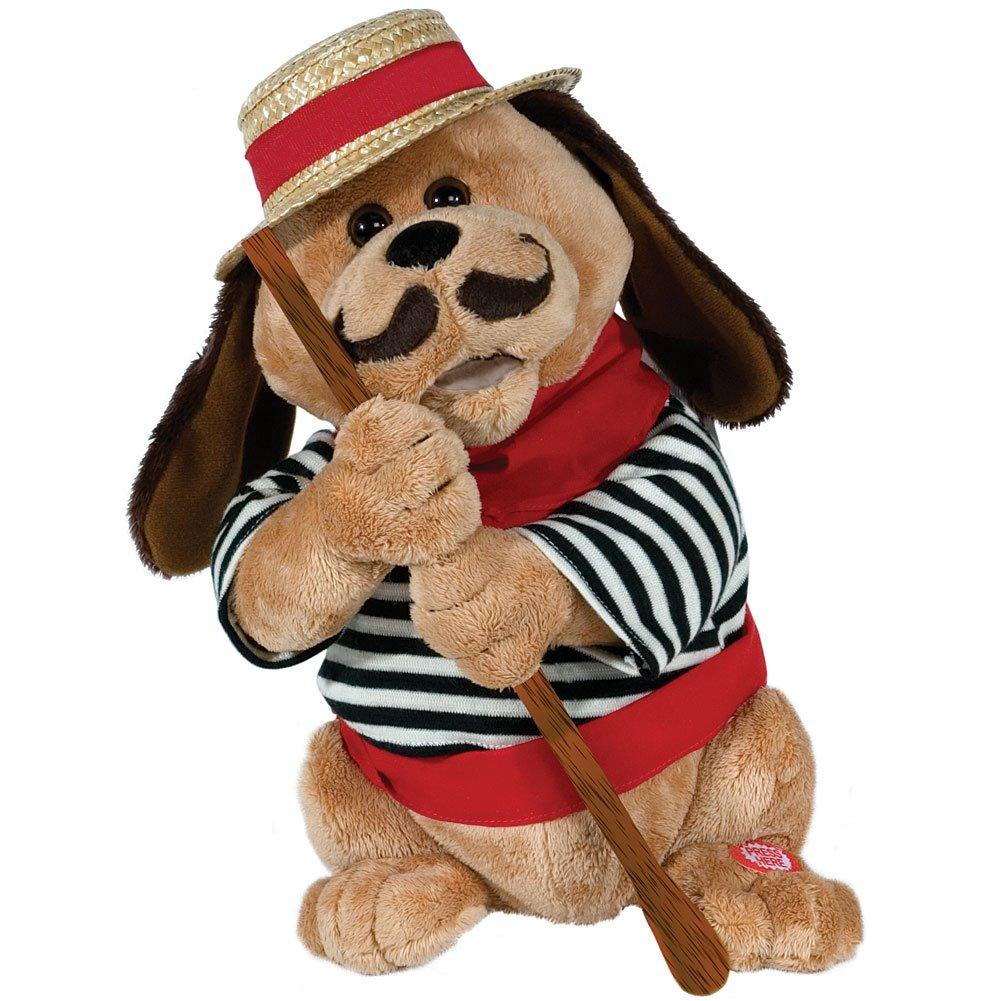 """12"" Tall Gondolomio Romantic Italian Animated Plush Puppy Dog Toy Dancing and Singing Song ""Ole Sole Mio"""