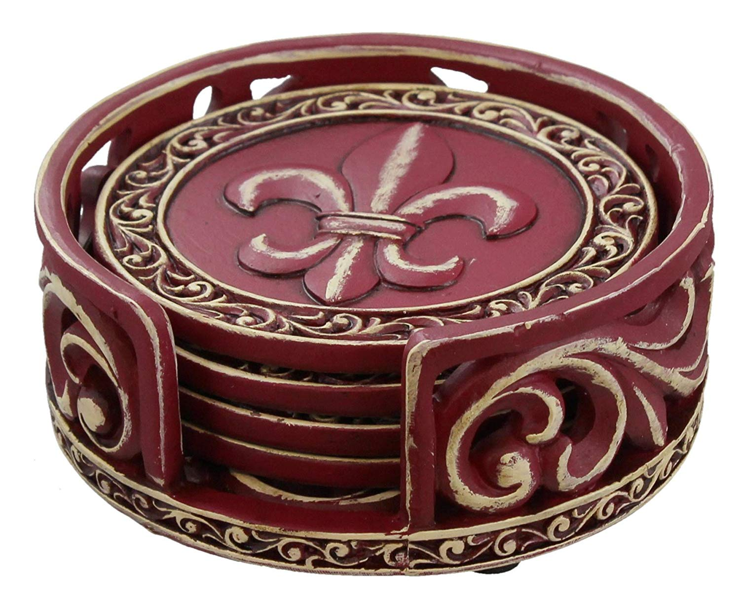 Old River Outdoors Rustic Fleur De Lis Coaster Set w/Ornate Holder (Burgundy)