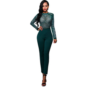 2017 Women Spring Autumn Sexy Cotton Jumpsuit Romper Long Sleeve Full Length Night Club Wear Skinny Female Jumpsuit With Diamond