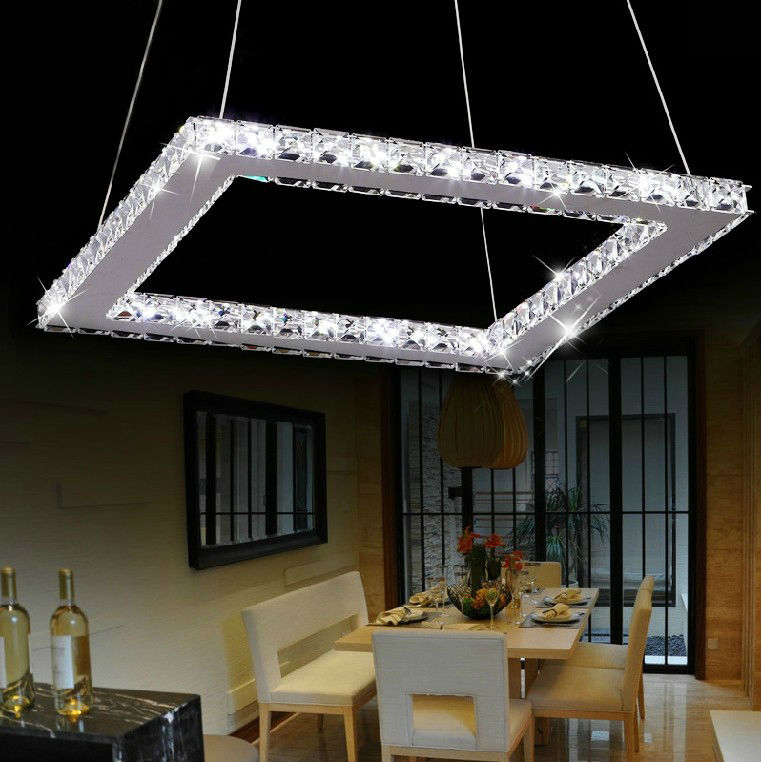 Square Modern Crystal Chandelier For Living Room Dining Room