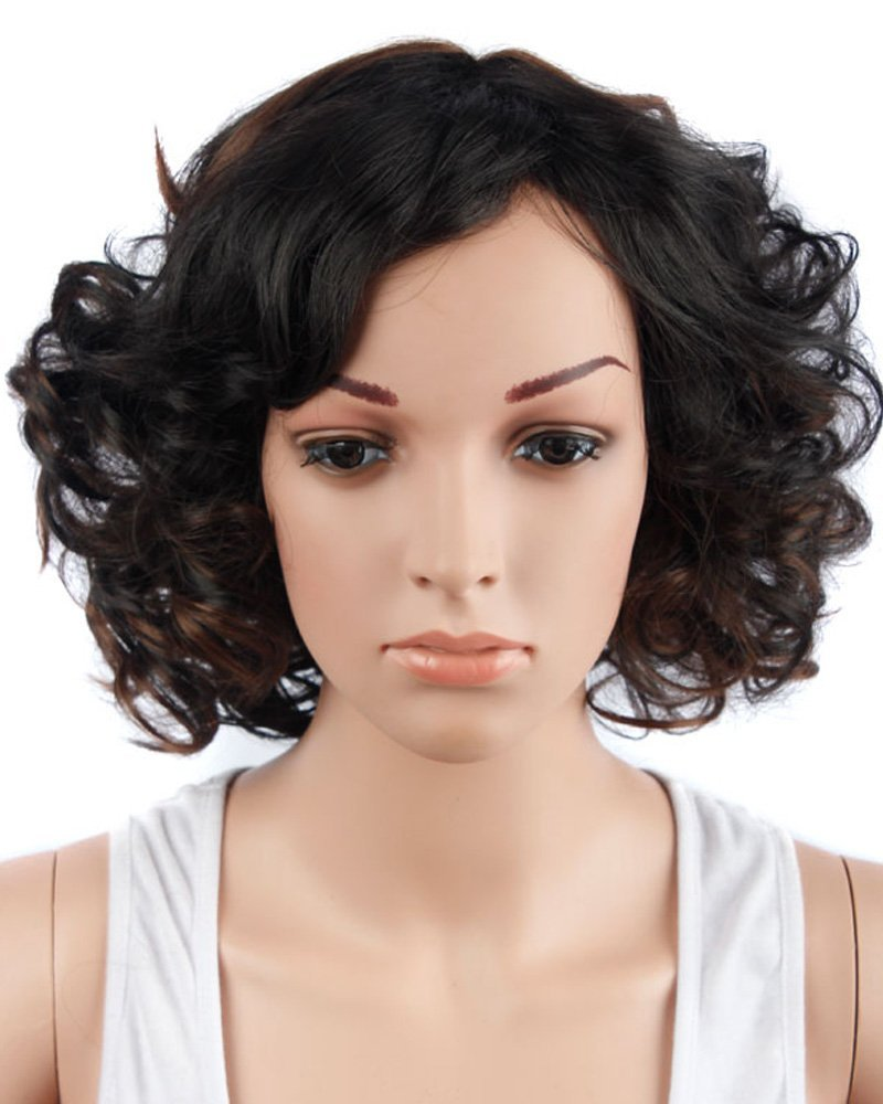 Tsnomore Wigs for Black Women Afro Kinky Wig Short Curly Wigs Black and Brown Ombre Wig (Black mixed Brown)