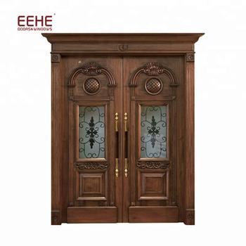 Classic Double Entrance Oak Wooden Door Front Door Entry Door Buy