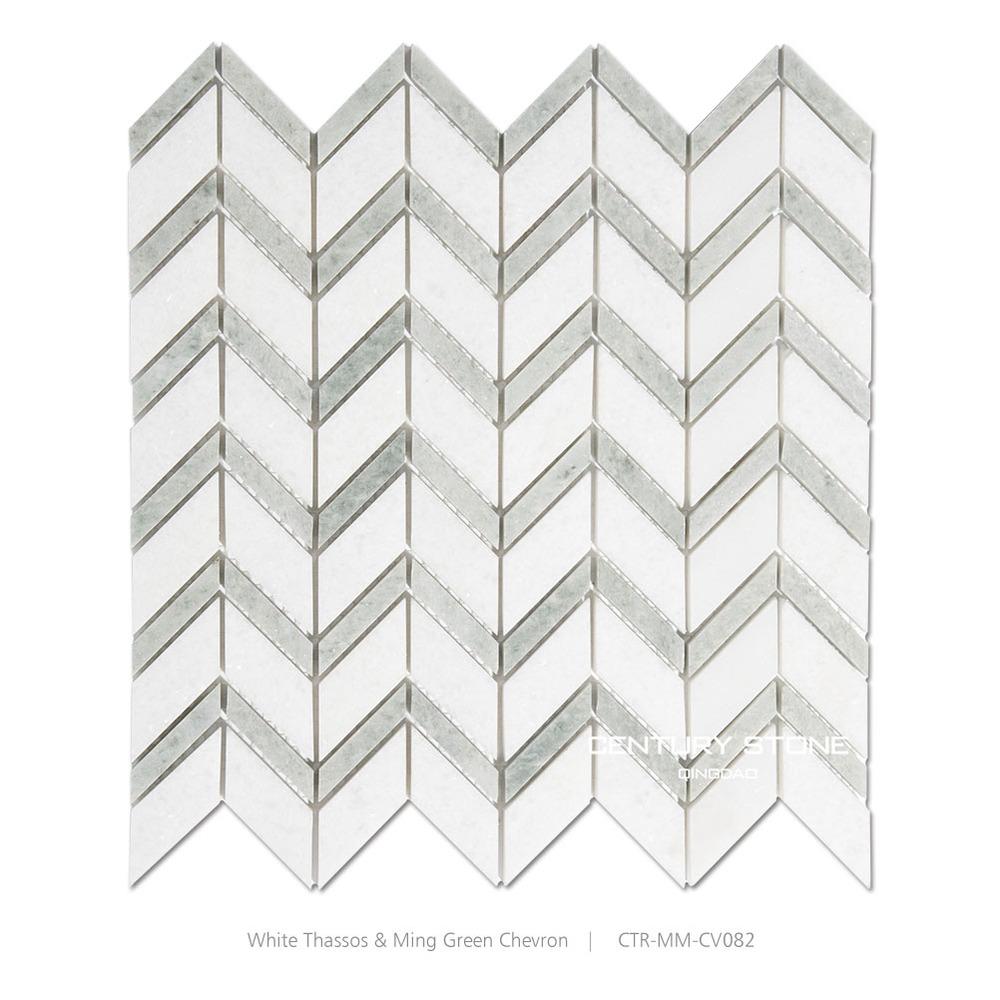 타 소스 화이트 셰브론 욕실 돌 벽 타일 모자이크 패턴 - Buy Product ...