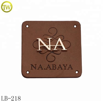 Custom jeans leather patch with metal logo fashion design leather patch labels