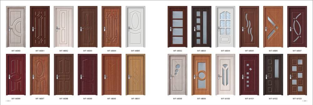 Teak wood door design pvc coating surface finished for Door design catalogue