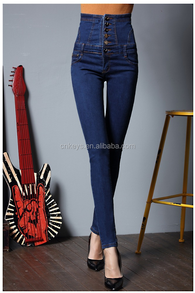 K1826A 2017 New Fashion Plus Size Women Jeans Pants High Waisted Tight 6XL Ladies Jeans