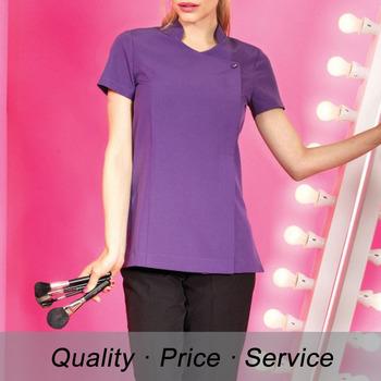 Hu k102 spa workwear women cotton short sleeve salon for Spa uniform cotton
