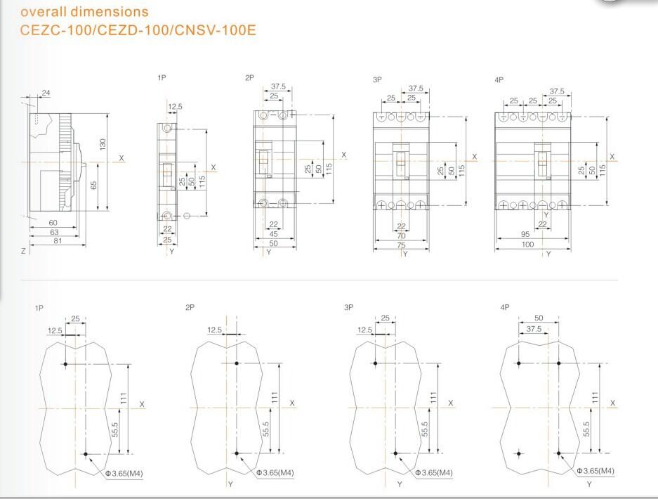 cezc 100f 100a dp low voltage circuit breaker icu 18ka mccb
