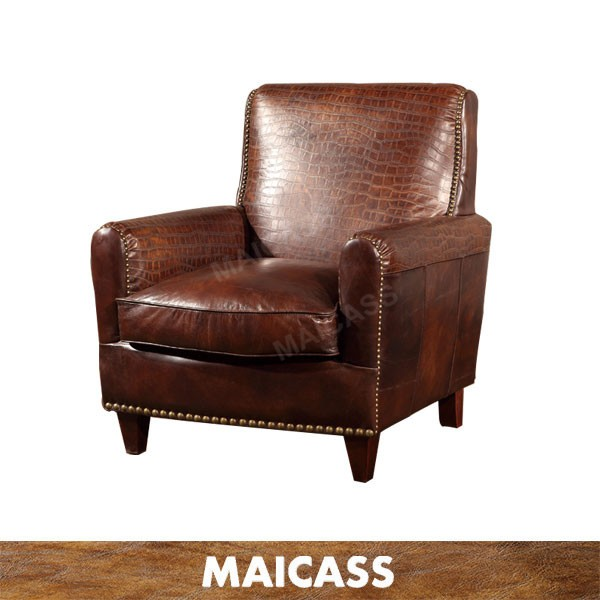 Cafe Hotel Bar Armchair Single Antique Leather Sofa With Rivet Buy