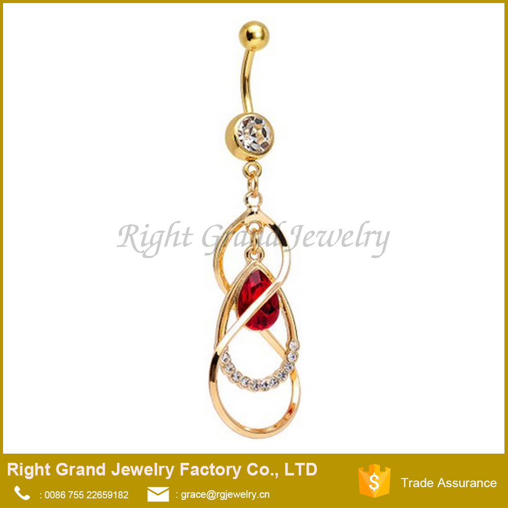 Gold Plated Surgical Steel Red Teardrop Gem Dangle Belly Ring