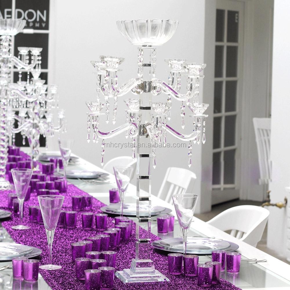 Tall Crystal Glass Candelabra Centerpieces Wedding Mh-1835 - Buy ...