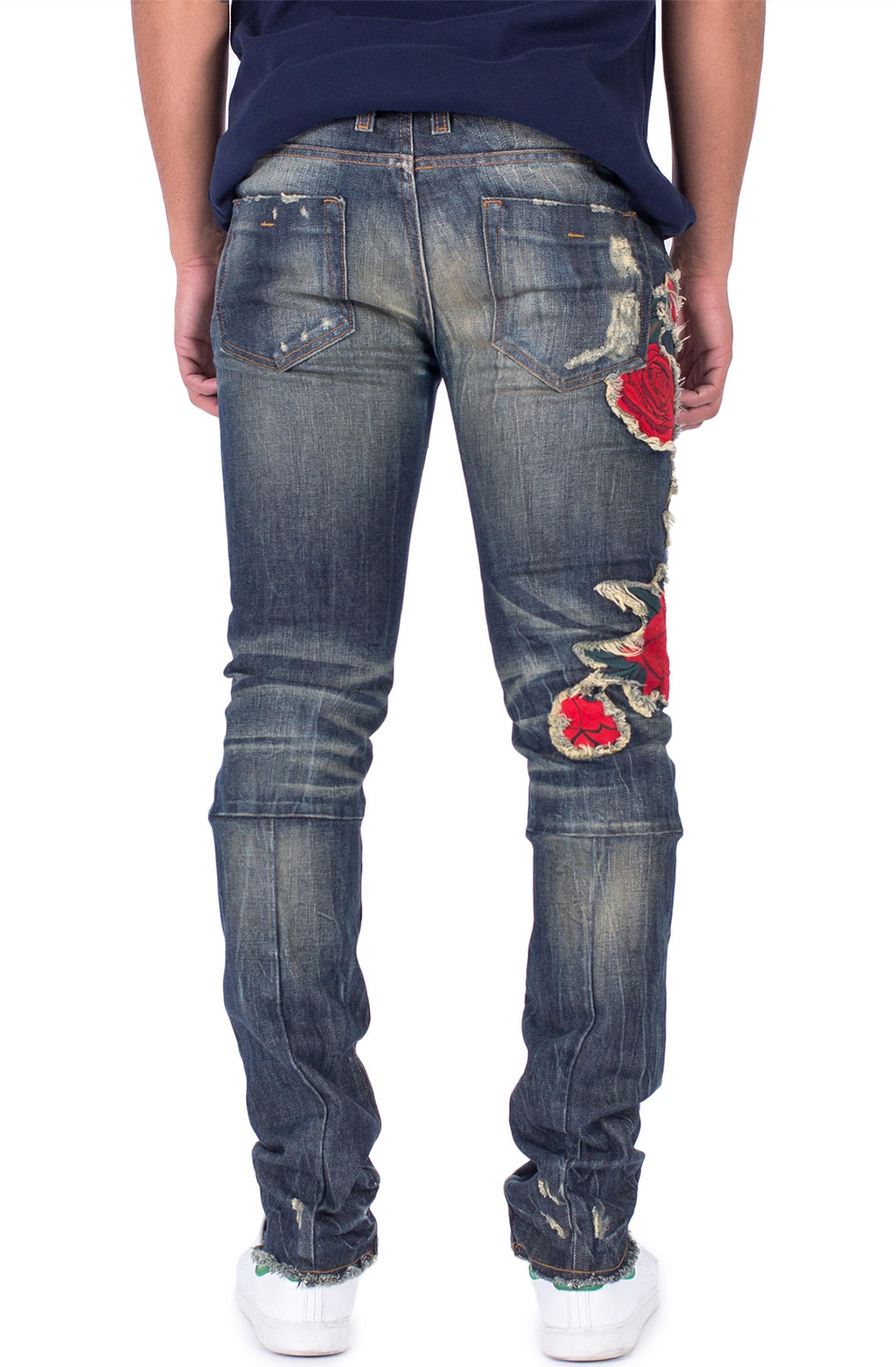 OEM luxury customized victorious stretch mens designer jeans wholesale Rosa Embro ripped Denim Jeans in Dark Indigo 159