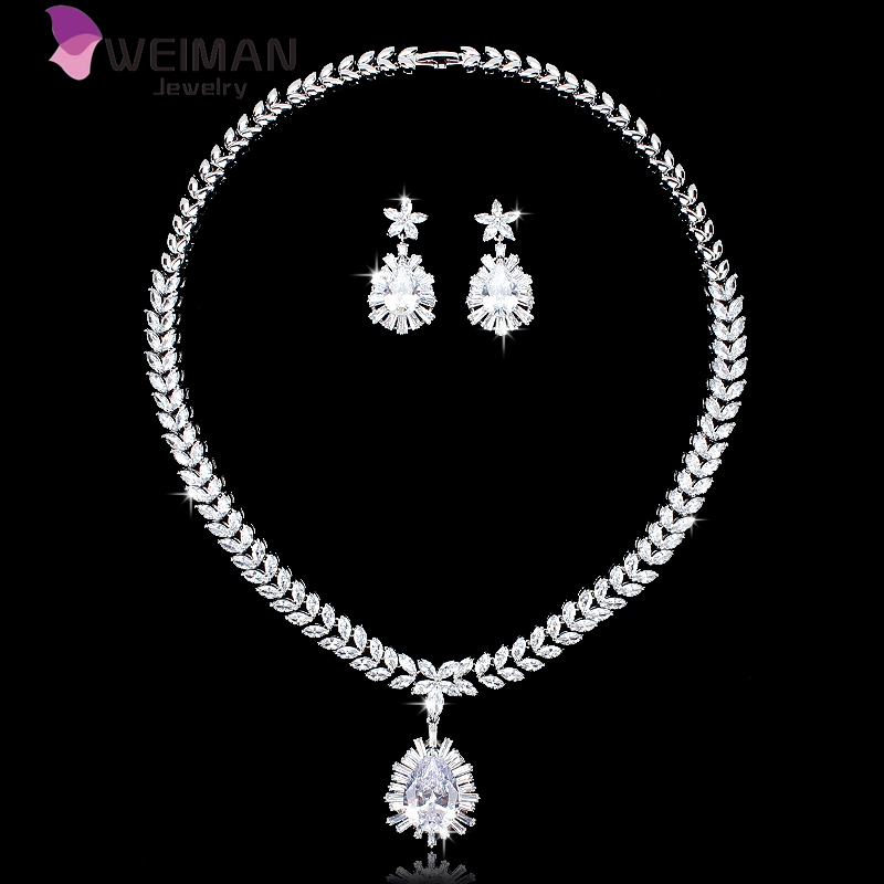 Luxury White Gold Cubic Zirconia Teardrop Necklace Earring Set from Wedding