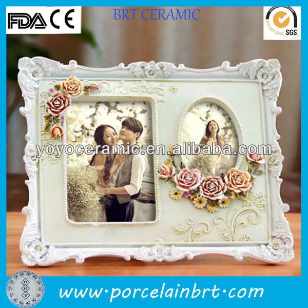 rectangle flower sweet double resin photo frame two photos