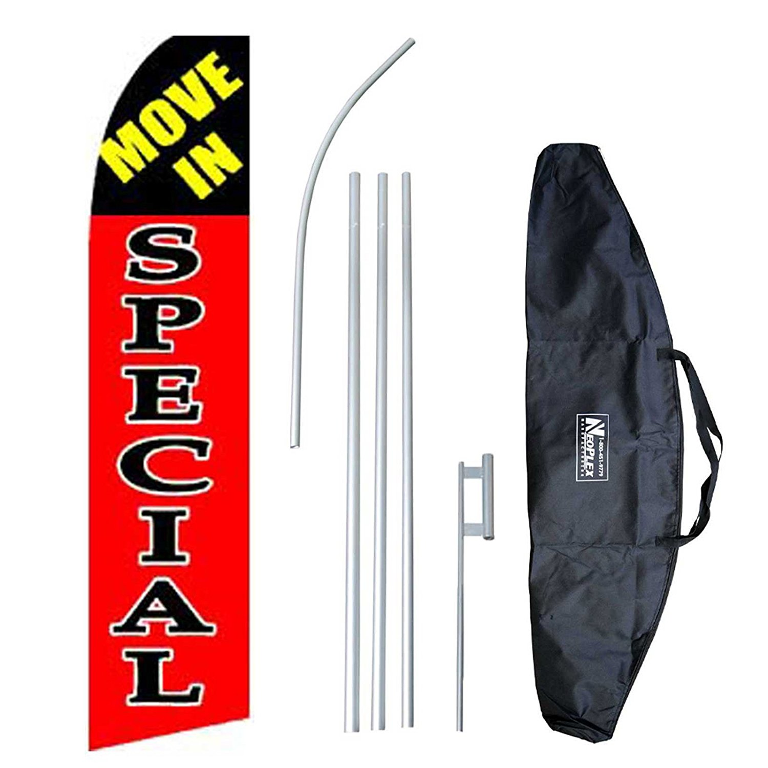 """Move In Special"" 12-foot Swooper Feather Flag and Case Complete Set...includes 12-foot Flag, 15-foot Pole, Ground Spike, and Carrying/Storage Case"