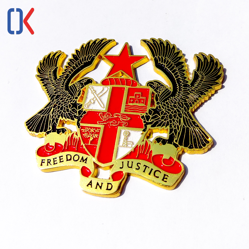 freedom and justic custom medal casting hawk plating label pin