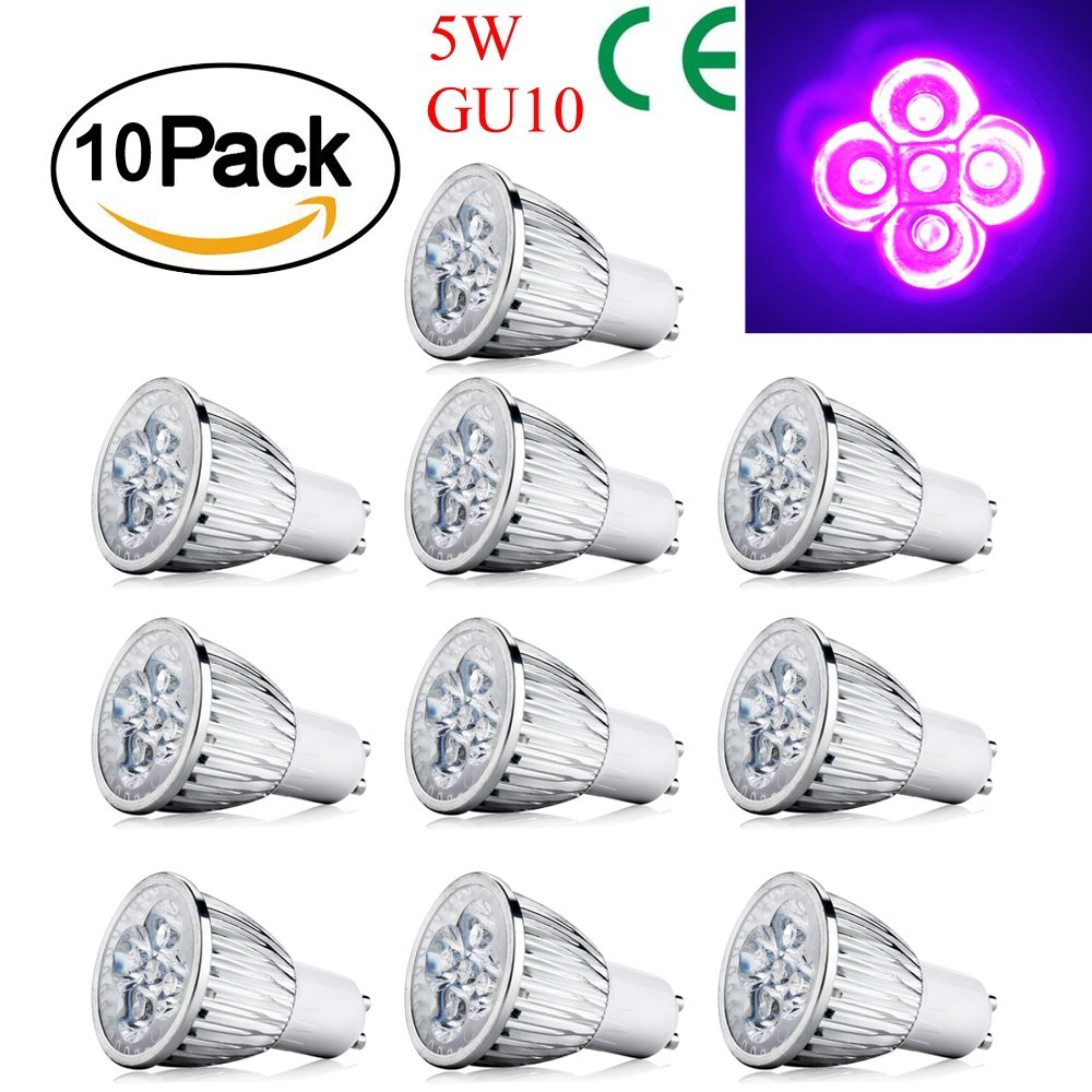 Zlimio 1-10 Pack LED UV Spotlight Bulb Ultraviolet Light Lamp, 4W/5W E27/GU10/MR16 Available for Landscape, Recessed, Track lighting