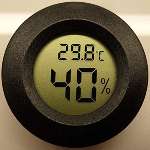 Round Digital Cigar Humidor Temperature Hygrometer Thermometer Tool Black