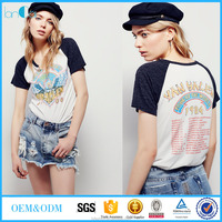Summer t shirts custom printing design vintage raglan t shirt for women