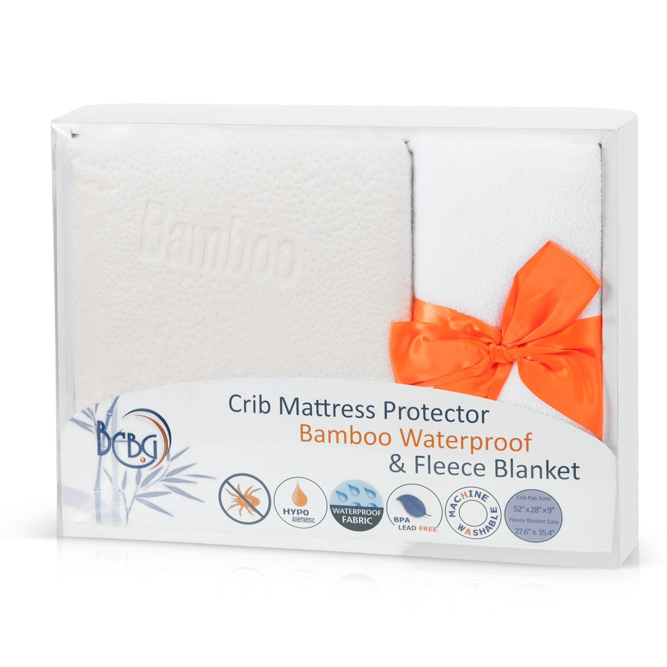 Baby Crib Mattress Set by BCBG-Online: Fitted Waterproof Bamboo Protector Cover Pad and Fleece Polyester Blanket for Infant's Crib in a Gift Box