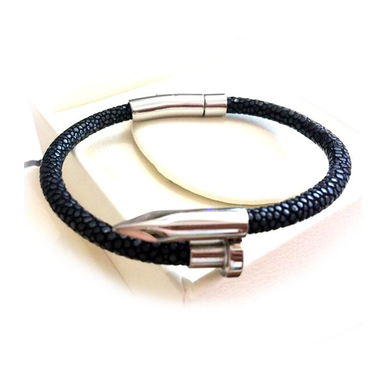 Multiple Colors Selection Black Real Stingray Bracelet Nail Mens