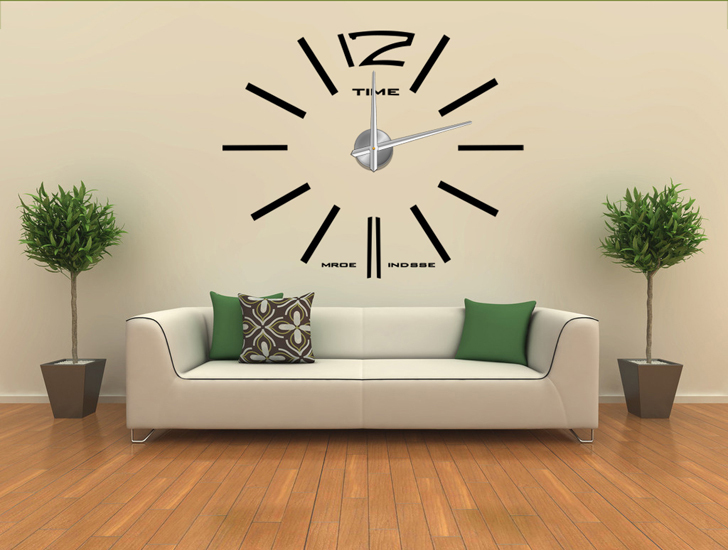diy modern frameless large wall clock home decoration decor living room big metal hours watch. Black Bedroom Furniture Sets. Home Design Ideas