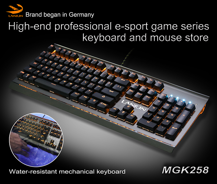 high-end USB wired Homochromy back light mechanical gaming Keyboard