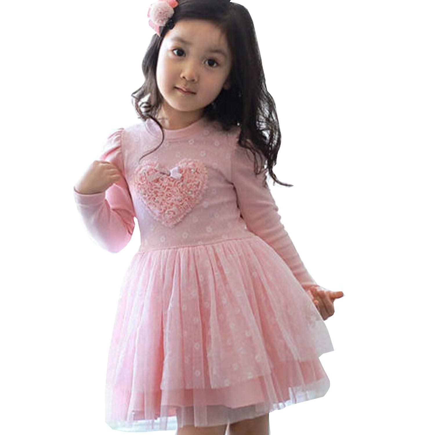 ONEs Kid Girls Long Sleeve Tutu Dress Baby Toddlers Pink Lace Love Heart Birthday Outfits