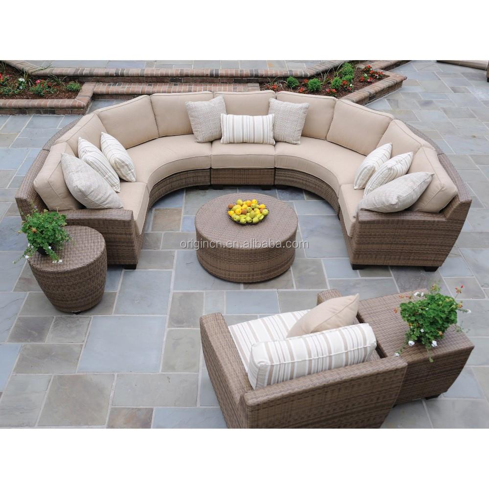 Curved Rattan Garden Sofa: Elegant High Quality Outdoor Ratan Wicker Garden Furniture