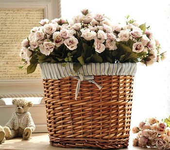 Beautiful And Mini Wicker Flower Basket Stand Artificial Decoration