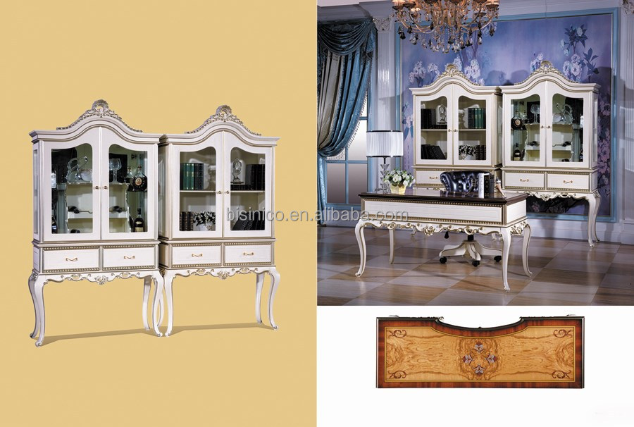 Whose House FurnitureClassic Antique Style White Desk, Executive Desk, Office Desk