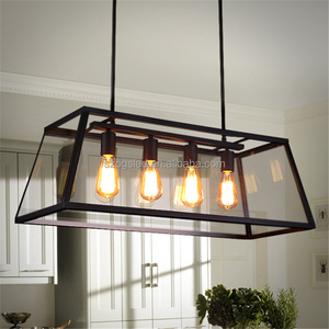 Traditional wrought iron frame clear glass ceiling pendant light for restaurant lighting