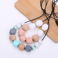 Customize Wholesale Diy Bpa Free Baby Silicone Teething Necklace For Mom