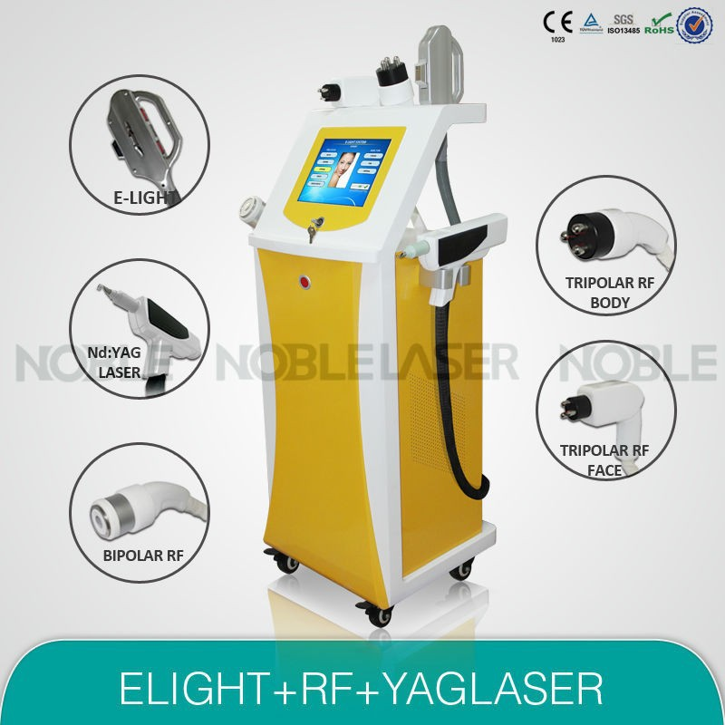 elight+rf+Nd YAG 3 in 1 beauty machine cosmetic product remove hair tattoo wrinkle