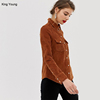 king young women tan cord Point collar Press-stud placket Long sleeve Warehouse western corduroy shirt