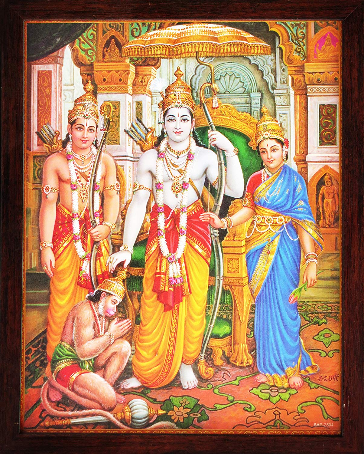 Lord Hanuman Showing His Humbleness in Ram Darbar and MATA Sita Giving Blessings. A Holy Religious Poster Painting with Frame for Hindu Worship Purpose