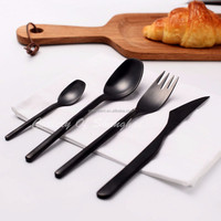 Elegant silverware matte black handmade forged heavy weight cutlery set wholesale