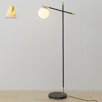 modern simple led lights marble standard lamp decorative glass floor lamp for home living room and bedroom
