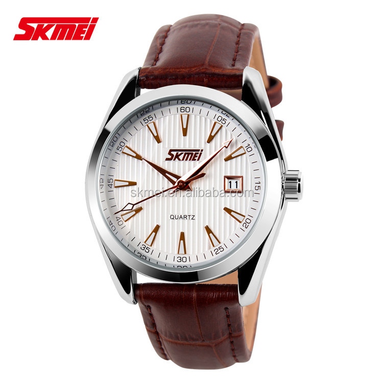 Fashion Leather Strap Mens Classic gold time quartz watch 3 Atm Water Resistant