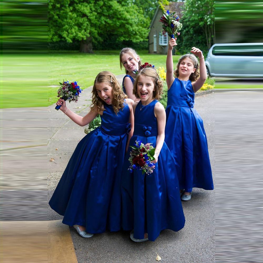 Wedding Flowers Girl Dresses: Doctor Wedding Royal Blue Flower Girl Dress With Handmade