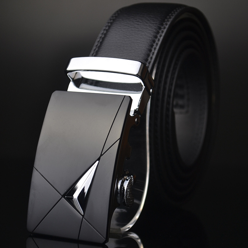 ab363 Man Leather Adjustable Automatic Belt with Formal Buckle