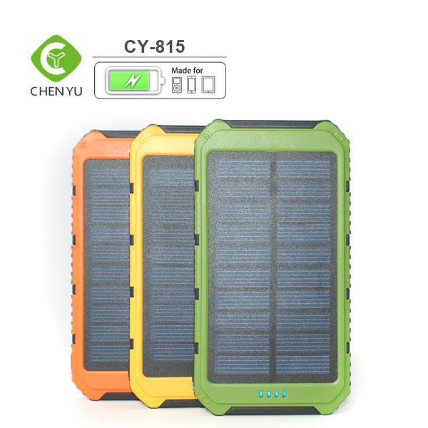 2016 New colorful 8000mAh Solar Power Bank Backup Battery Charger for GPS PDA Mobile Phone