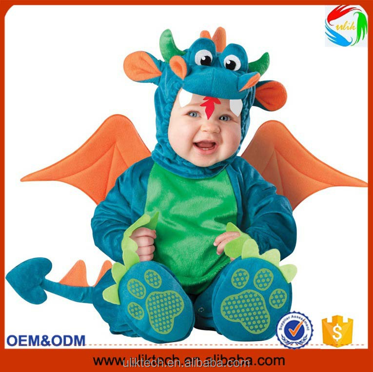 green color fancy lovely baby dinosaur cosplay with wing dinosaur costume for kids
