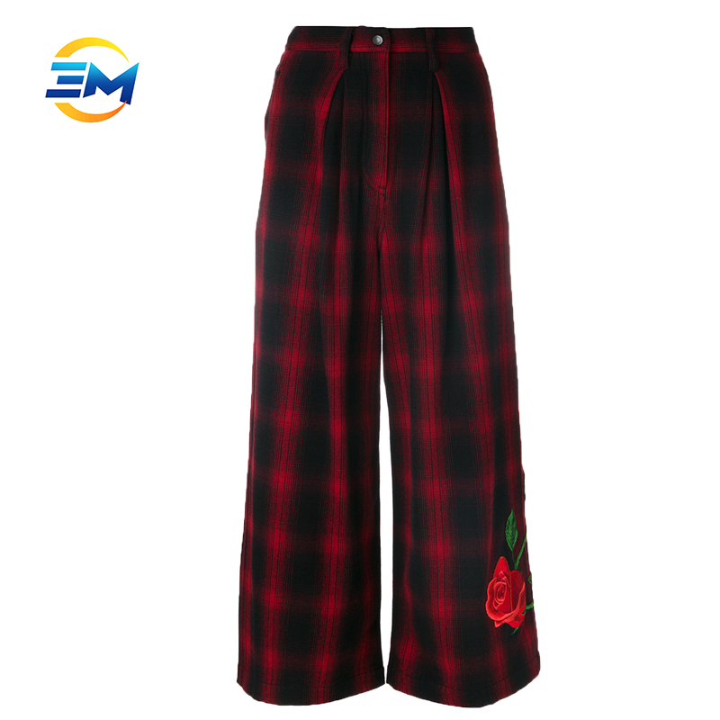 Custom top quality cotton tunic tartan trousers wide leg pants ninth embroidery pants