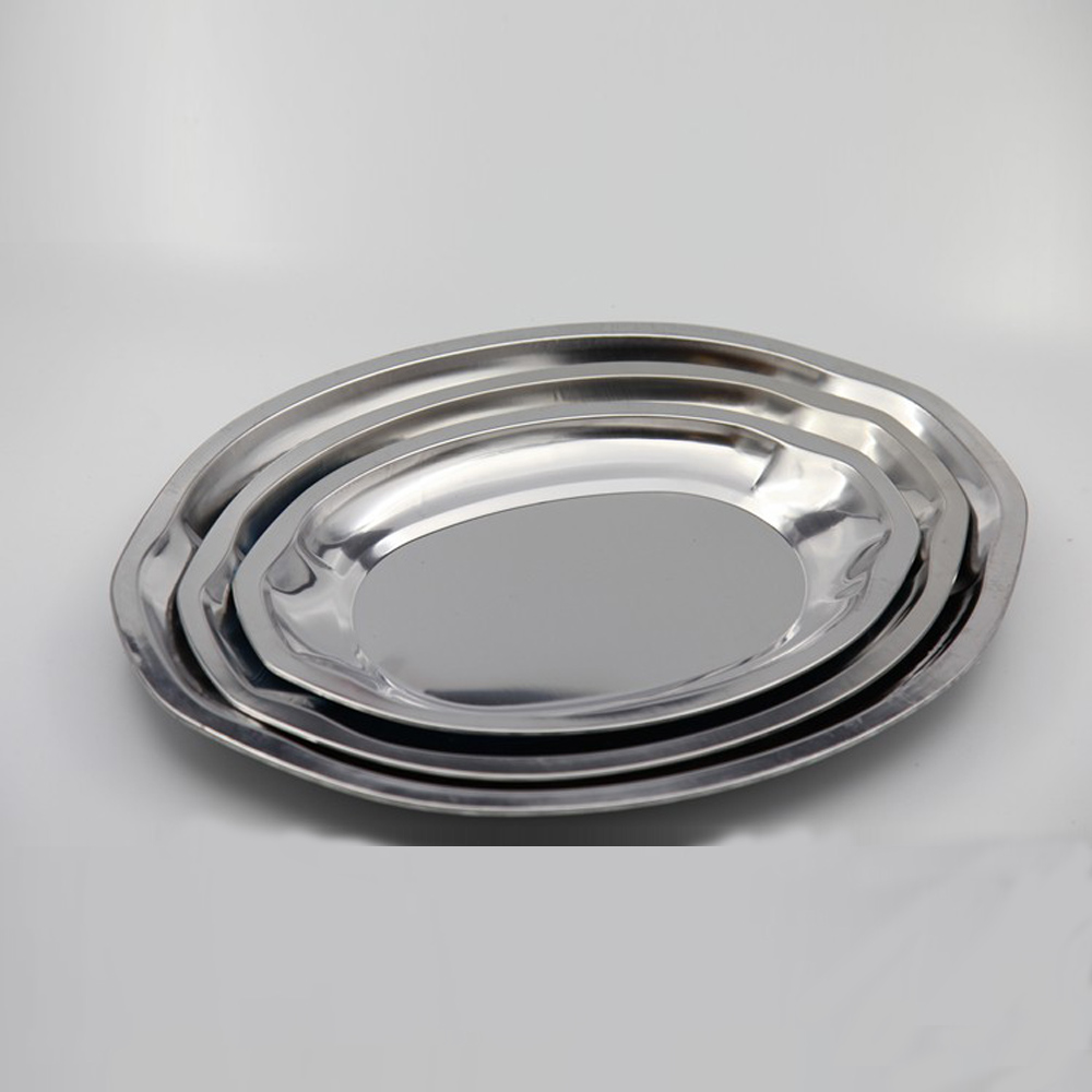 Stainless Steel Dinner Plate Oval Food Plate restaurant serving Dishes