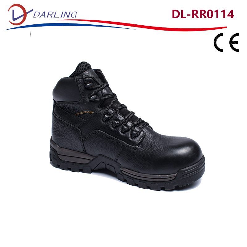 Steel toe anti static safety boots black asphalt paving safety boots custom made good price safety boots