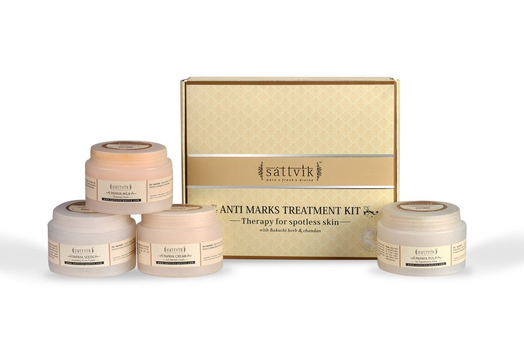 Sattvik Organics Anti Marks Kit - Therapy For Spotless Skin : With Saffron & Bakuchi Herb • Minimizes Discoloration of All Kinds • Helps Prevent Future Damage • Restores Firmness